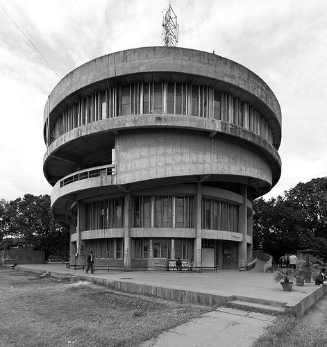 Old black and white picture of a modern building